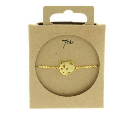 337546DOR Bracelet Chat Doré Tête Mignonerie