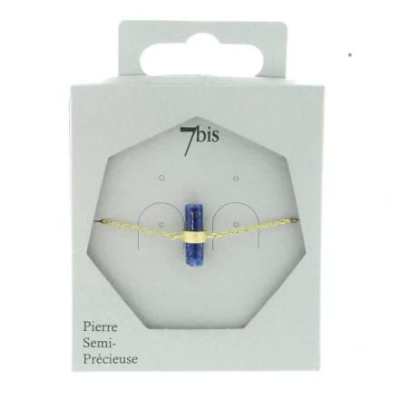 370059BLEDOR Bracelet Cylindre Bleu Doré Gravé Lapis-lazuli