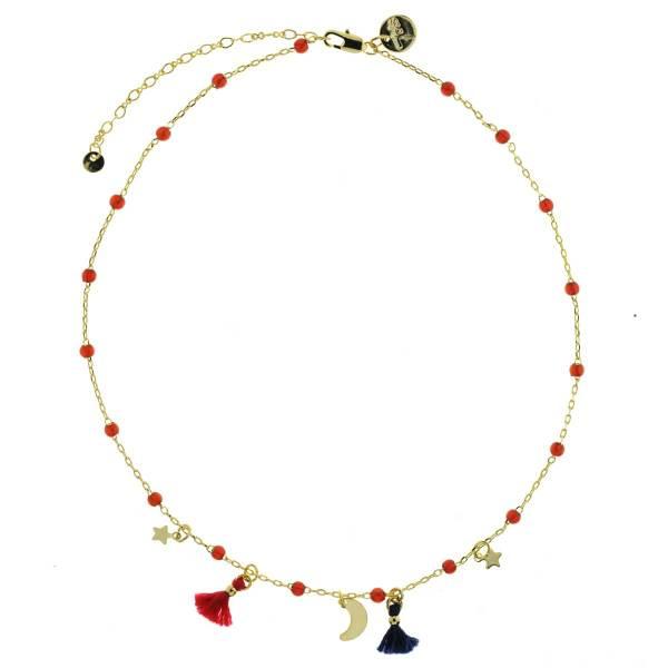 170886ROU Ras-de-cou Pompon Rouge Étoile Lune Et Perles