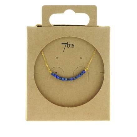 171182BLE Collier Fin Ble Pierre Semi-précieuse Facette
