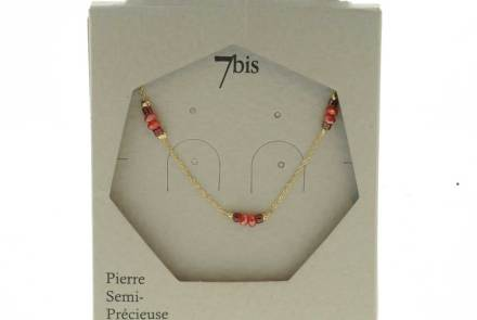 171280ROU Collier Perle Rouge Perle Facette