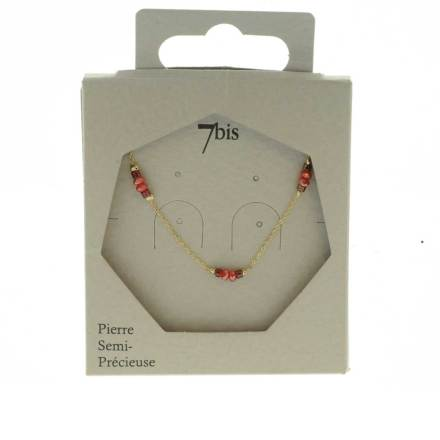 171280ROU Collier Perle Rouge Perle Facette