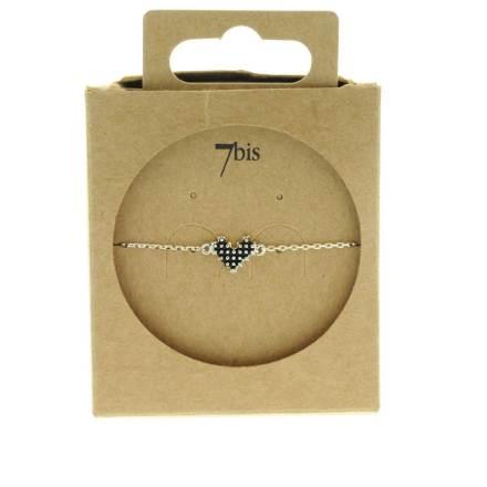 370285ARG Bracelet Cœur Argenté Pixel Noir