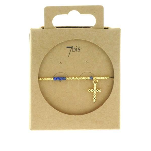 371275BLE Bracelet Élastique Doré Bleu Pendentif Croix Pierre Billes Métal