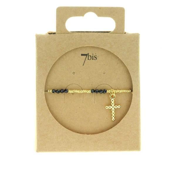 371275NOI Bracelet Élastique Doré Noir Pendentif Croix Pierre Bille Métal