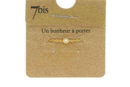 871005BLA Bague Ajustable Coulissante Blanc Micro Strass Et Chaîne Fine