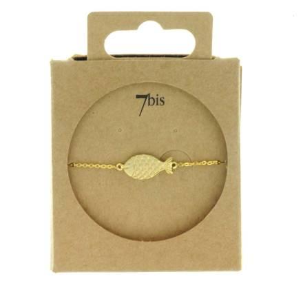 370289DOR Bracelet Poisson Or Gravé Animal