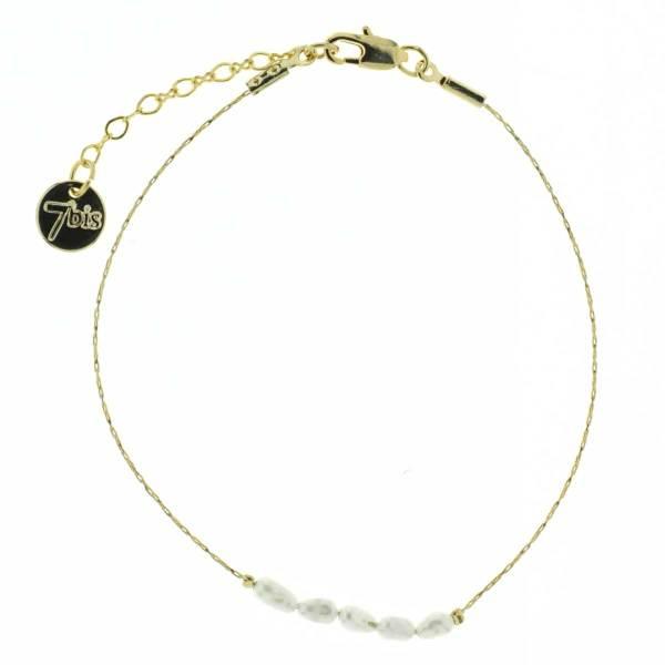 371183ECR Bracelet Fin Écru Perle D'eau Douce Naturelle