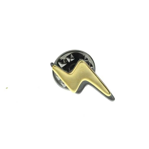 971262DORGUN Pin's Éclaire Doré Noir Bicolore Design