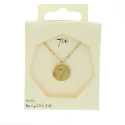 170228DORINX Collier Médaille Porte Bonheur Doré Acier Inoxydable Chiffre 7