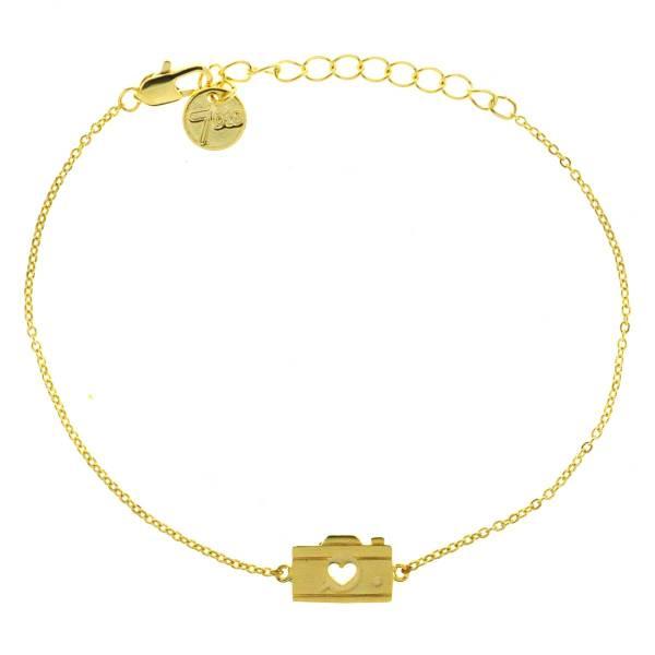 338907DOR Bracelet Appareil Photo Doré Estampe Cœur
