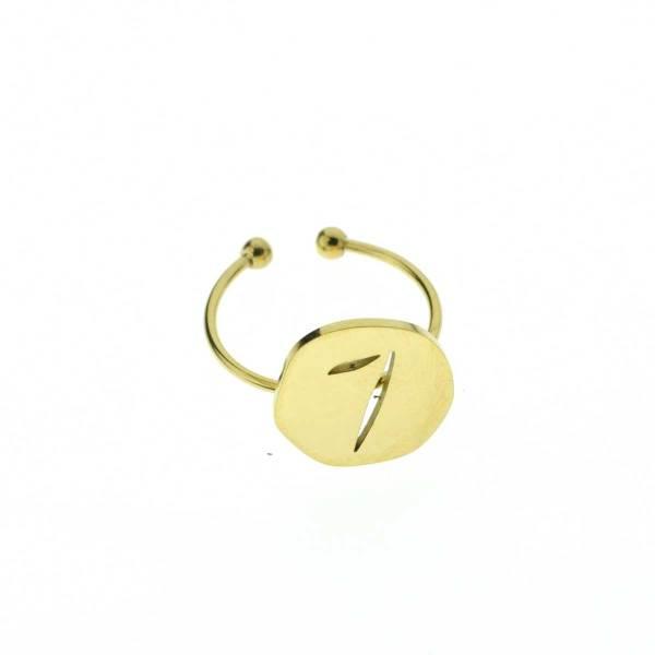 870228DORINX Bague Ajustable Médaille Porte Bonheur Doré Acier Inoxydable Chiffre 7