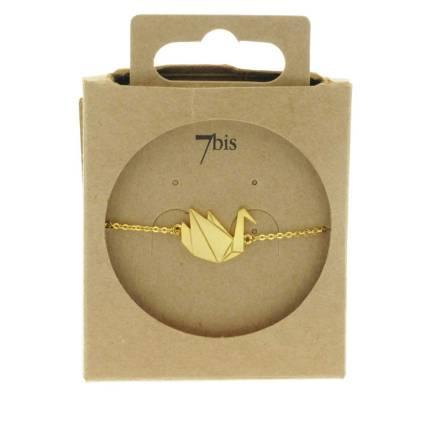337835DOR Bracelet Cygne Doré Origami Gravure