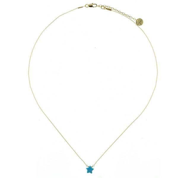 171311TUR Collier Étoile Doré Pierre Semi-précieuse Turquoise