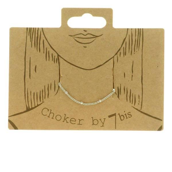 171025ARG Choker Ras De Cou Argenté Maille Plate Et Billes