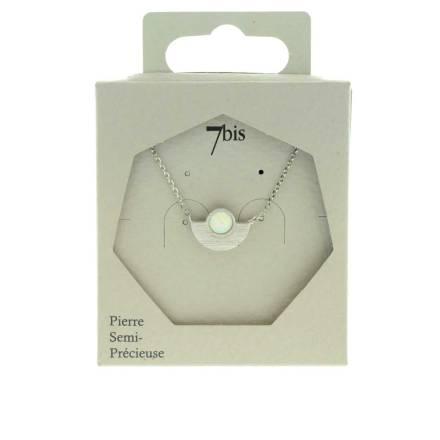 171154BLAARG Collier Demi Cercle Argenté Pierre Semi-précieuse Opale Ronde