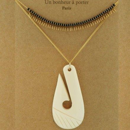 171268BLA Collier Double Rang Doré Perles Et Petits Motifs Goutte Ivoire