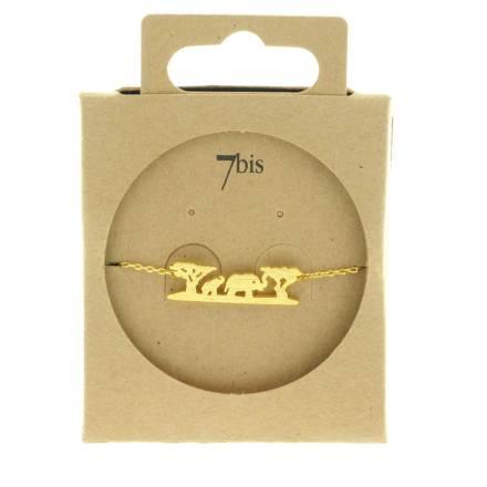 371213DOR Bracelet Doré Paysage Safari Animaux