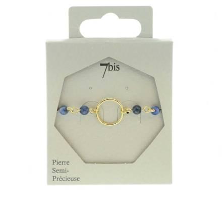 371316BLE Bracelet Perles Doré Bleu Semi-précieuse Anneau Central