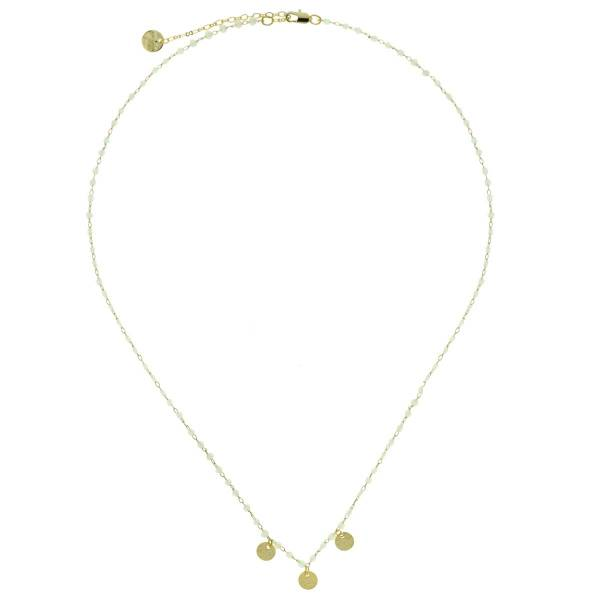 171309BEI Collier Anneau Métal Doré Beige Perles Et Médaillons Facettes