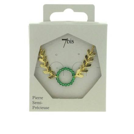 171600VER Collier Anneau Perles Doré Vert Flèches Gravées