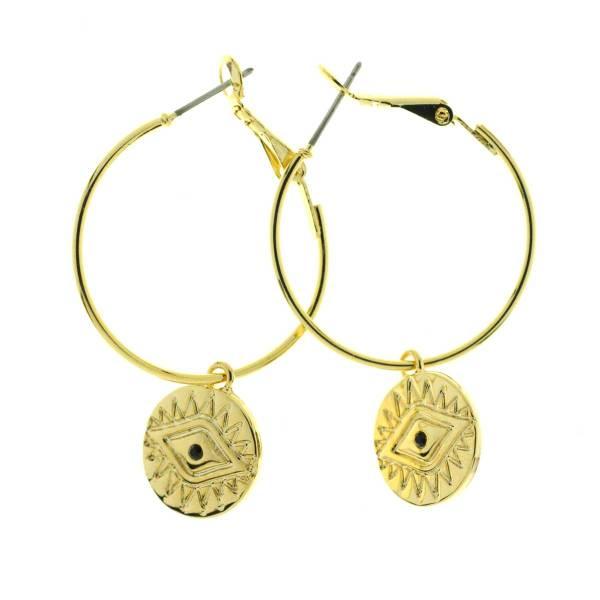 271408DOR Boucles D'oreilles Créole Doré Pampille Médaille