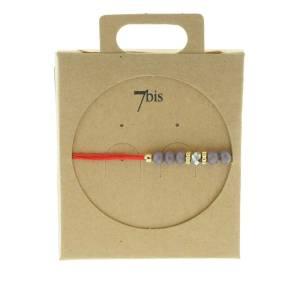 330011A Bracelet simple rouge gris perles ajustable collection autres 7bis