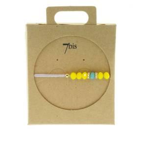 330011B Bracelet simple violet jaune perles ajustable collection autres 7bis