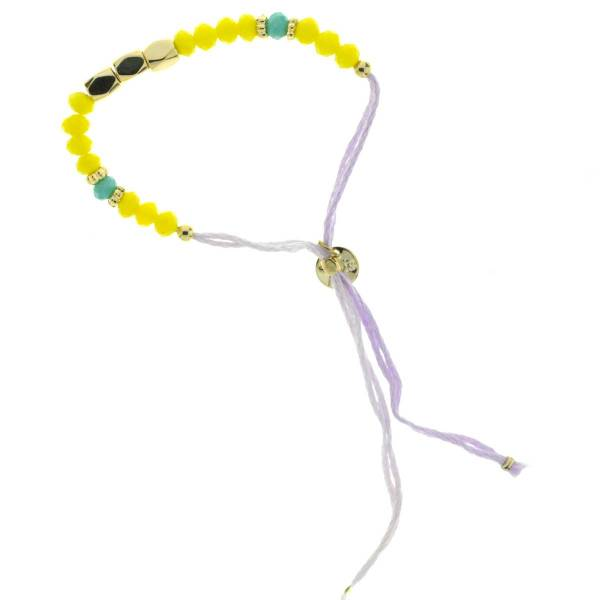 330011B Bracelet simple violet jaune perles ajustable collection autres 7bis