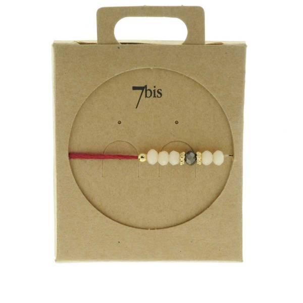 330011D Bracelet simple rouge beige perles ajustable collection autres 7bis