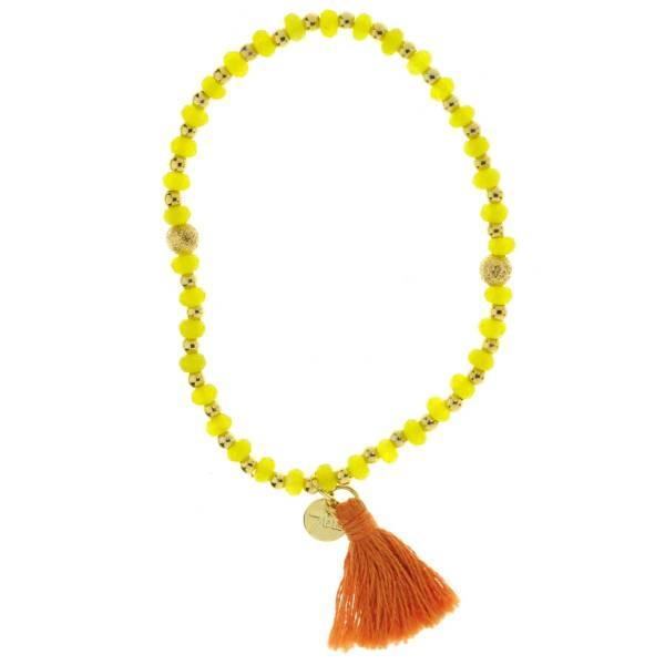 330013A bracelet pompon orange vert perles elastique collection autres 7bis