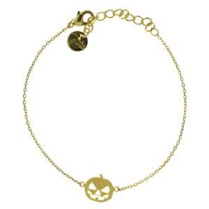 370073DOR Bracelet Citrouille Doré Tête Halloween
