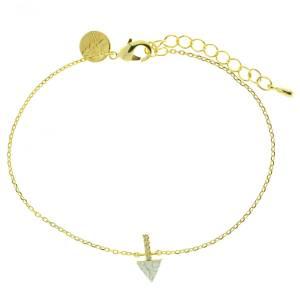 370583BLADOR Bracelet Triangle Et Barre Doré Blanc Strass Zircon