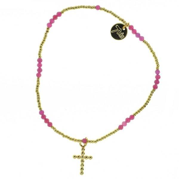371275ROS Bracelet Élastique Doré Rose Pendentif Croix Pierre Billes Métal