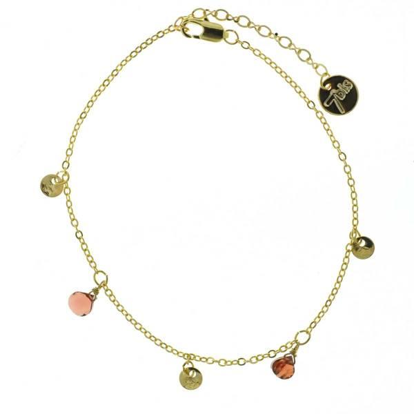 371277ROU Bracelet Pampille Doré Rouge Goutte Précieuse