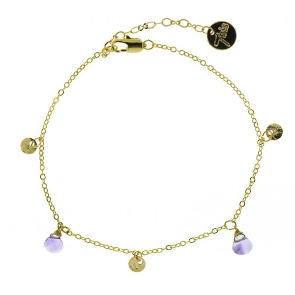 371277VIO Bracelet Pampille Doré Violet Goutte Précieuse