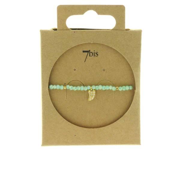 371601VERCLA Bracelet Élastique Menthe Perles Facettes Dent De Requin Strass