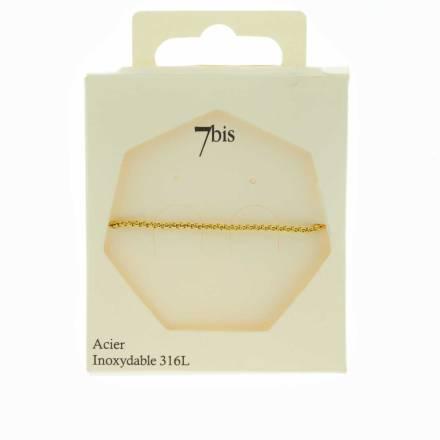 371613DOR Bracelet Chaîne Fine Doré Ajustable Acier Inoxydable