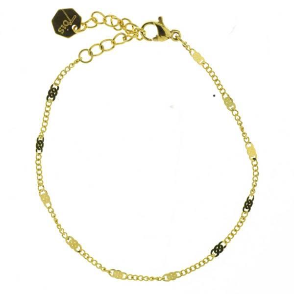 371617DOR Bracelet Chaîne Fine Doré Ajustable Acier Inoxydable