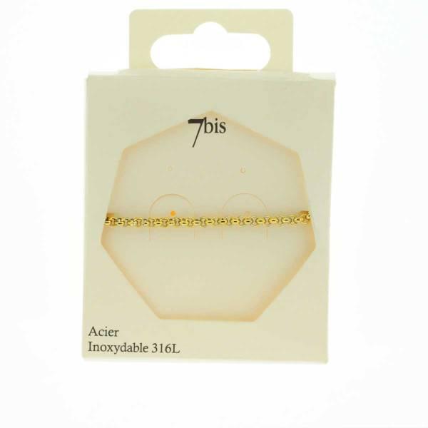 371619DOR Bracelet Chaîne Moyenne Doré Ajustable Acier Inoxydable
