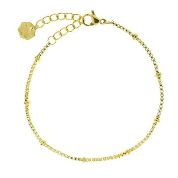 371621DOR Bracelet Chaîne Moyenne Doré Ajustable Acier Inoxydable