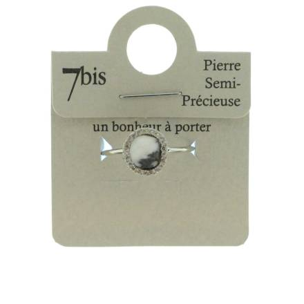 370580NOIARG Bracelet Pierre Ronde Noir Doré Contour Strass Zircon