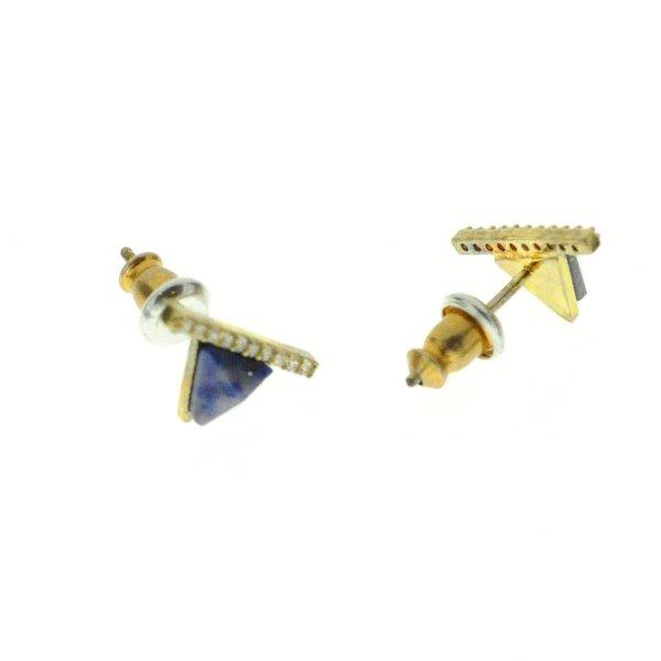 """270583BLEDOR Boucles D""""oreilles Triangle Et Barre Doré Bleu Strass Zircon"""