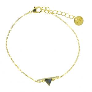370583BLEDOR Bracelet Triangle Et Barre Doré Bleu Strass Zircon