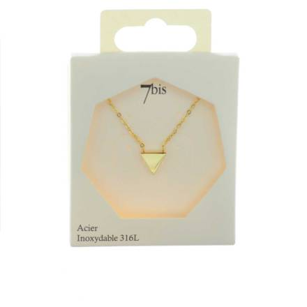 170218DORINX Collier Triangle Plat Doré Discret Acier Inoxydable
