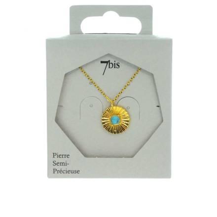 171519DOR Collier Médaille Doré Turquoise Striée Laiton