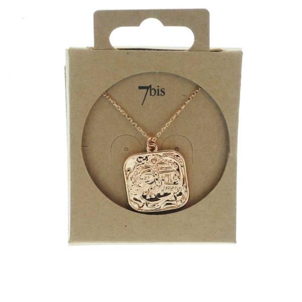 171527DORROS Collier Médaille Carré Doré Rosé Gravé Laiton