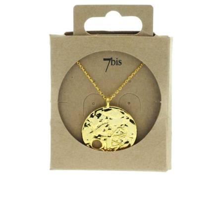 171528DOR Collier Médaille Perçée Doré Gravé Laiton