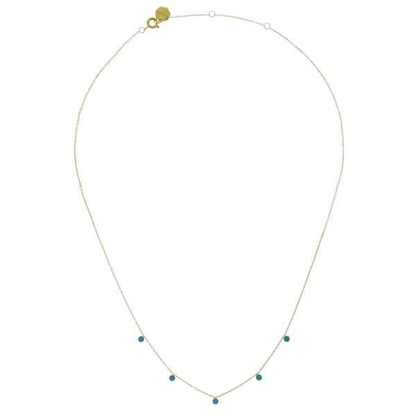 171568DORTUR Collier Summer Doré Turquoise Pierres Acier Inoxydable