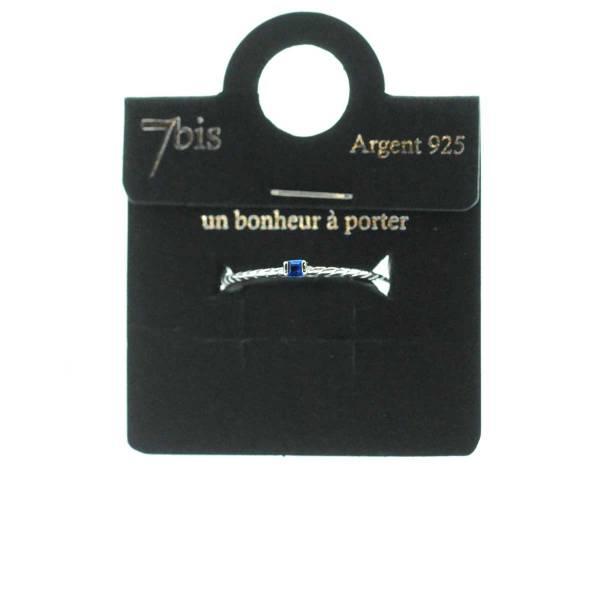 871472ARGSAP13 Bague Strass Carré Bleu Saphir Fine Torsadée Argent 925